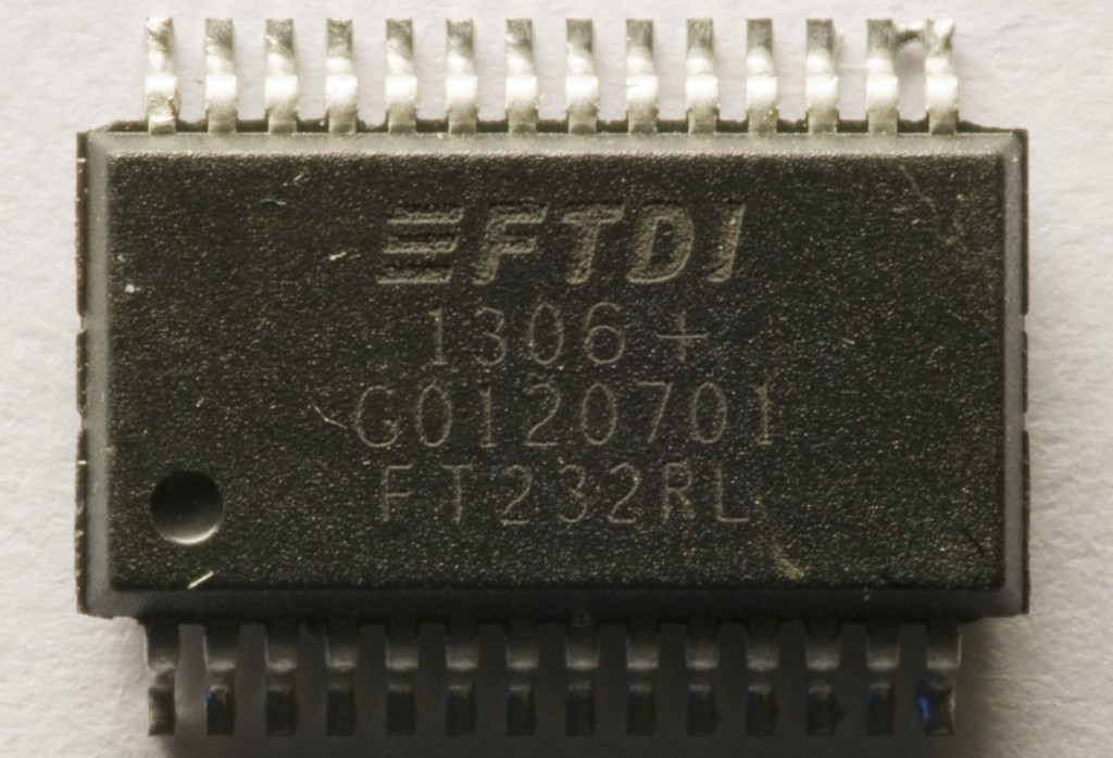 This is an FT232RL that I de-soldered from a non-working Arduino. I suspect it to be counterfeit.