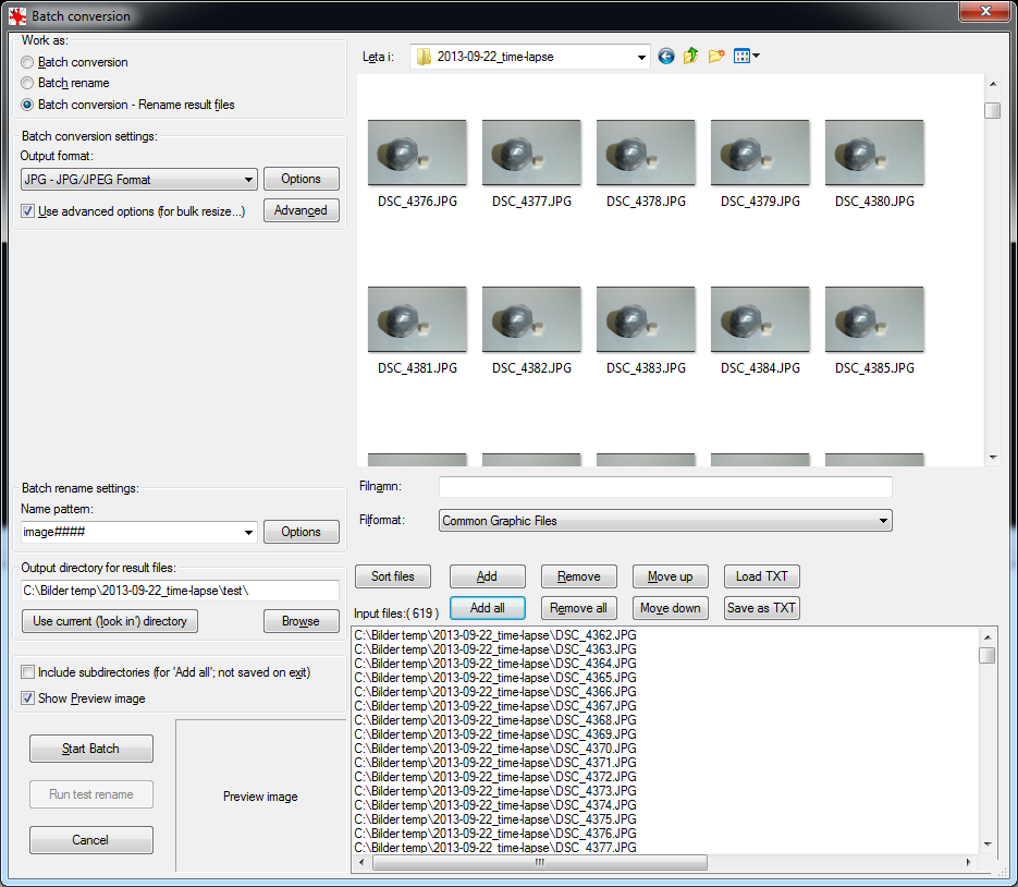 Batch processing dialog in Irfanview. Select files here and click on Advanced to set up the cropping and scaling.