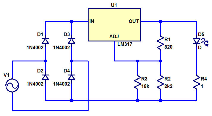 Schematic for constant current bike LED light.