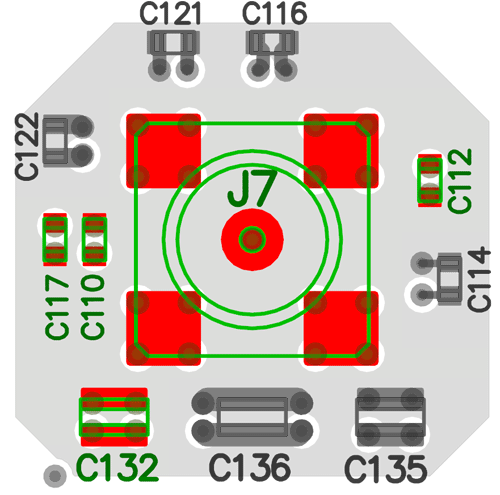 Top view of the layout, including the shape of the power plane. Footprints not discussed in this blog post are grayed out.