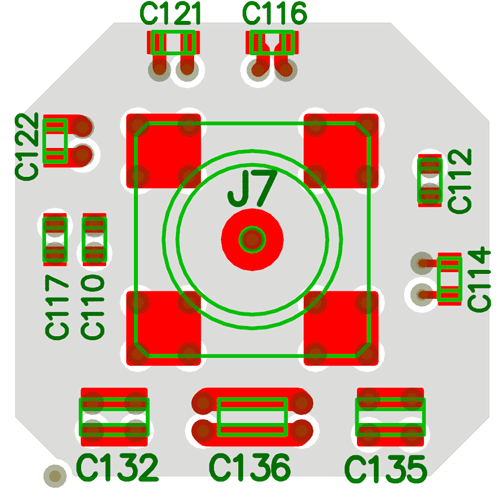 Top view of the layout, including the shape of the power plane.
