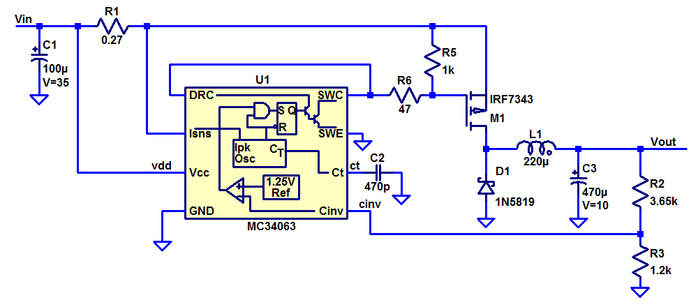 Schematics of DC/DC converter