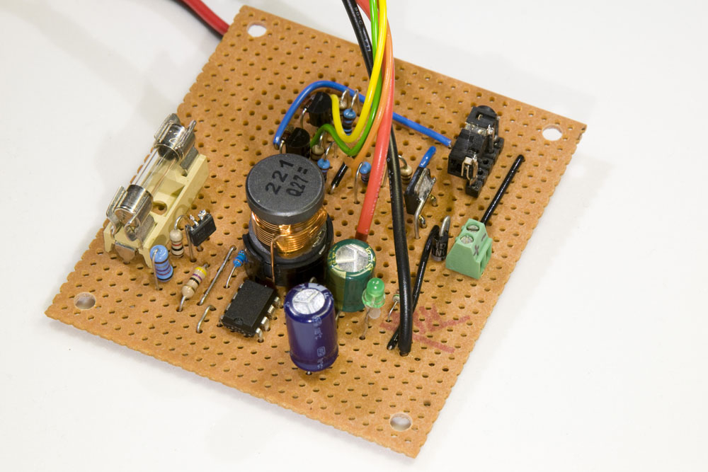 DC/DC converter built on stripboard