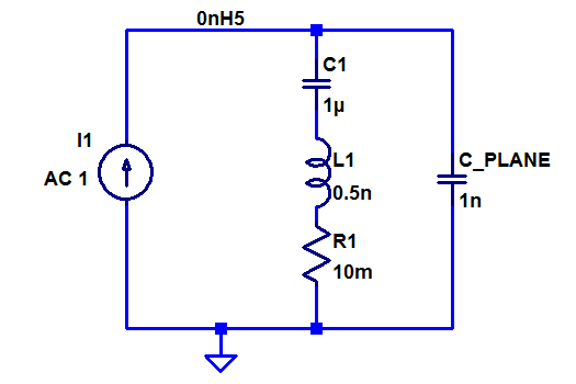 Equivalent circuit of a decoupling capacitor connected to a power/ground plane pair.