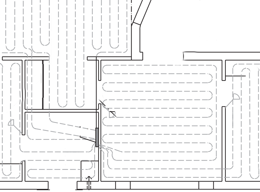 Example hot water pipe layout.