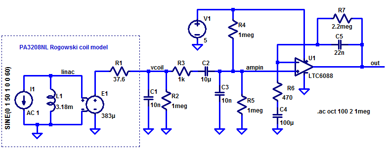 Rogowski-based AC sense amplifier.
