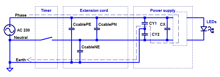 Equivalent circuit of timer breaking the neutral wire.